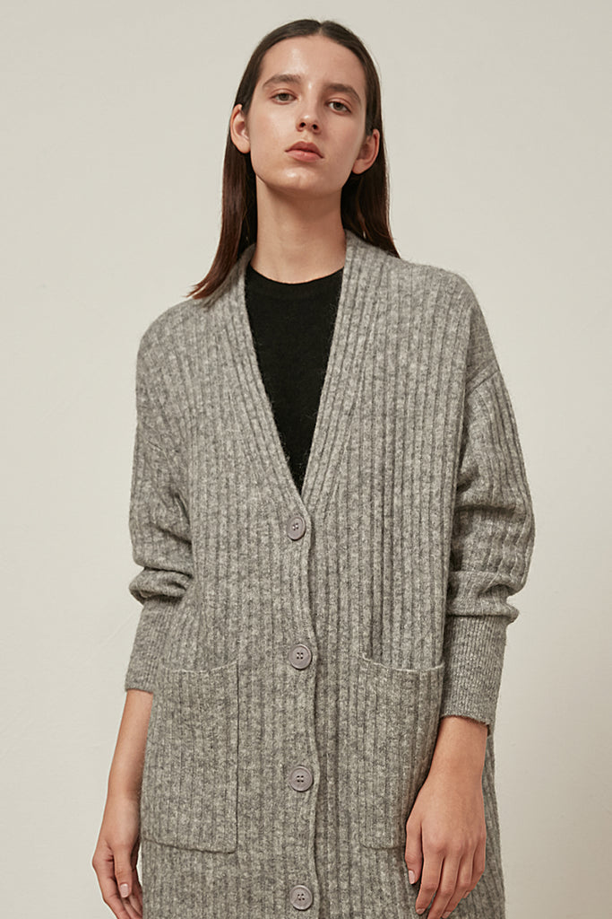 Wool and mohair-blend longline cardigan - Zelle Studio