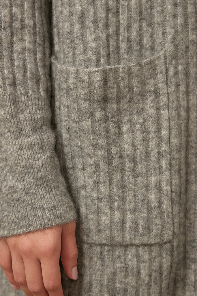 Wool and mohair-blend longline cardigan