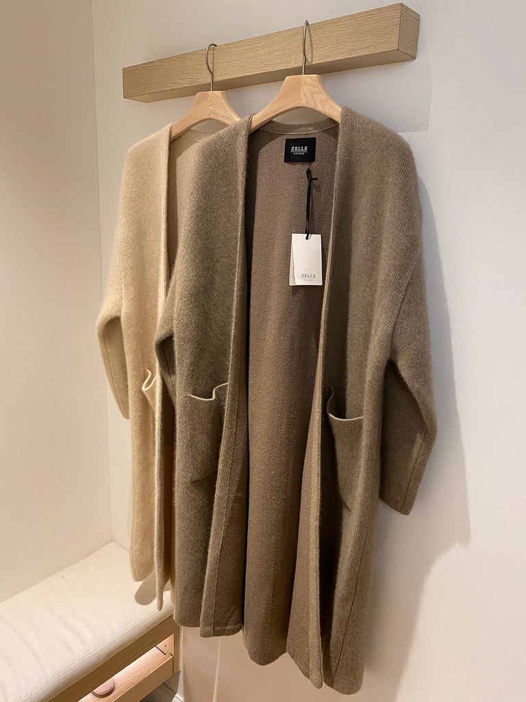 Oversized raccoon and wool-blend cardigan