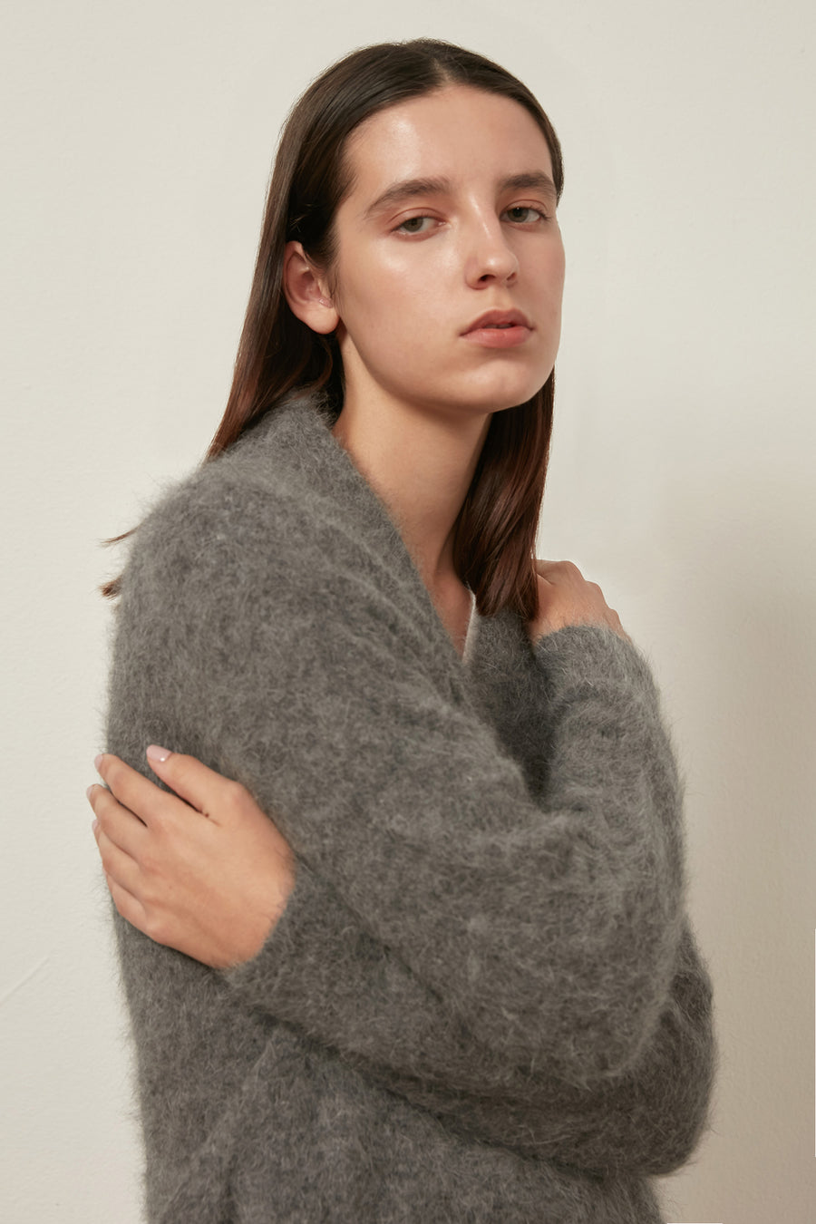 Fluffy oversized angora cardigan