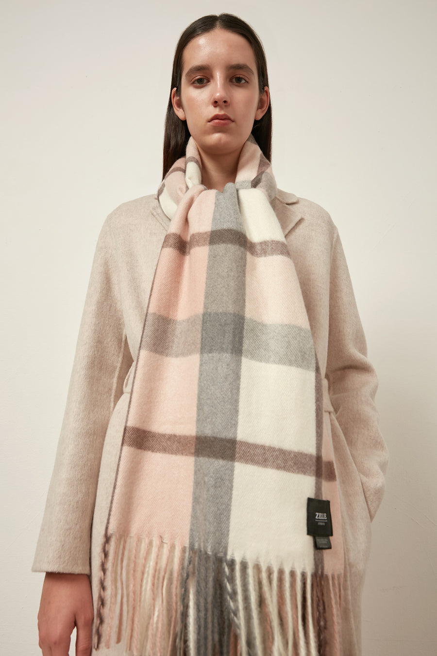 Checked cashmere and wool-blend oversized scarf - Zelle Studio