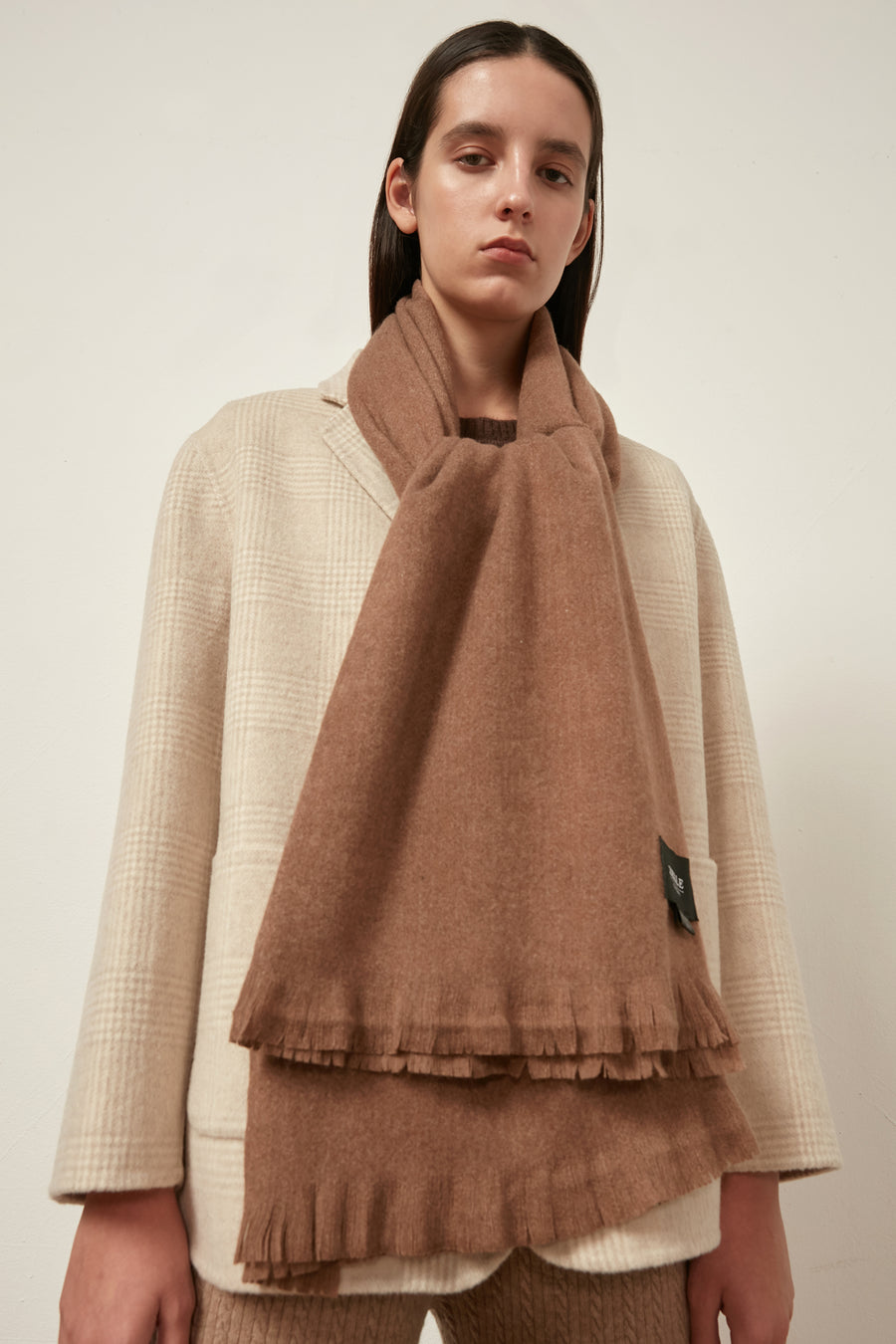 Cashmere and wool-blend oversized scarf - Zelle Studio