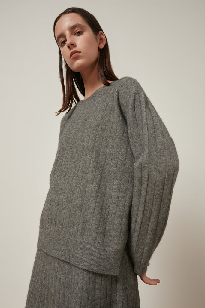 Raccoon and wool-blend ribbed skirt - Zelle Studio