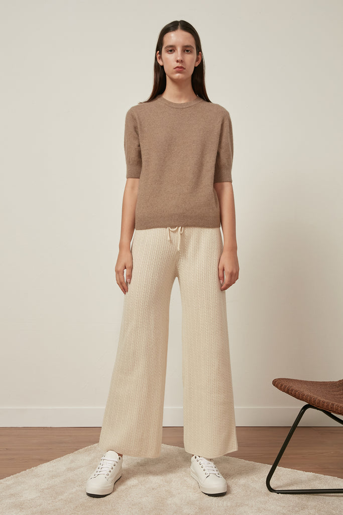 Fine-gauge cable knit wool trousers - Zelle Studio
