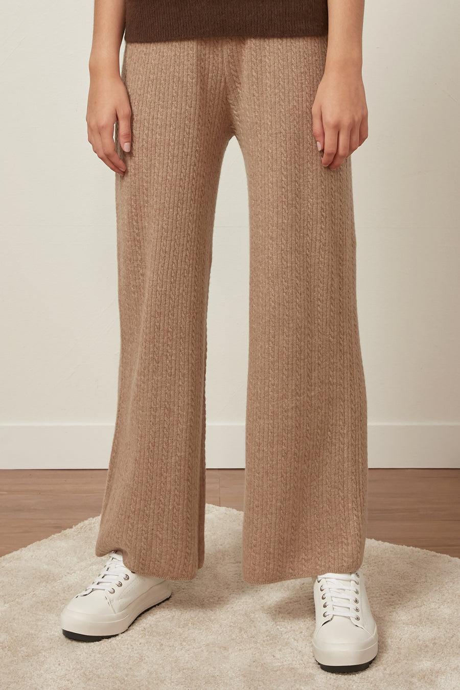 Fine-gauge cable knit wool trousers