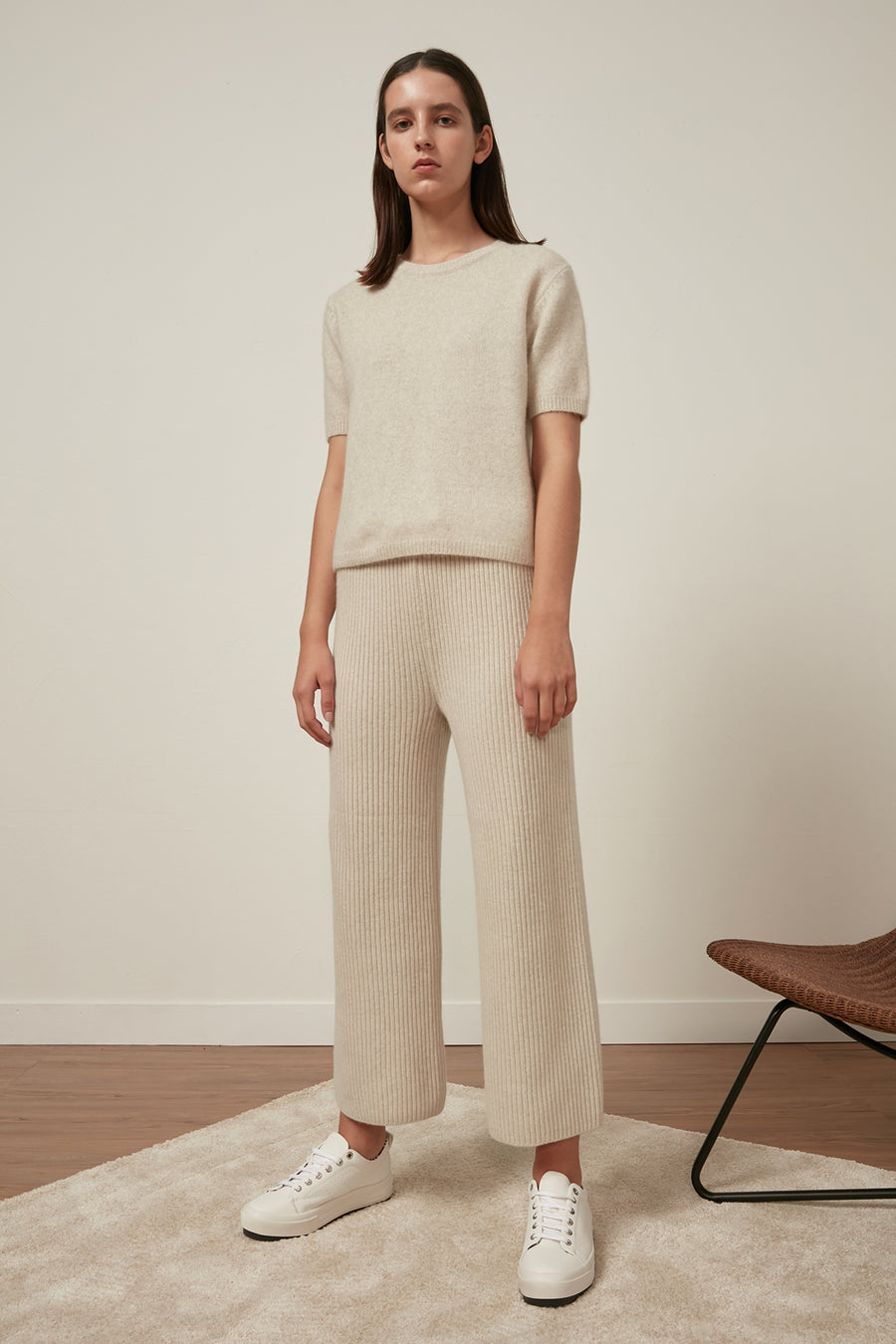 Ribbed wool trousers