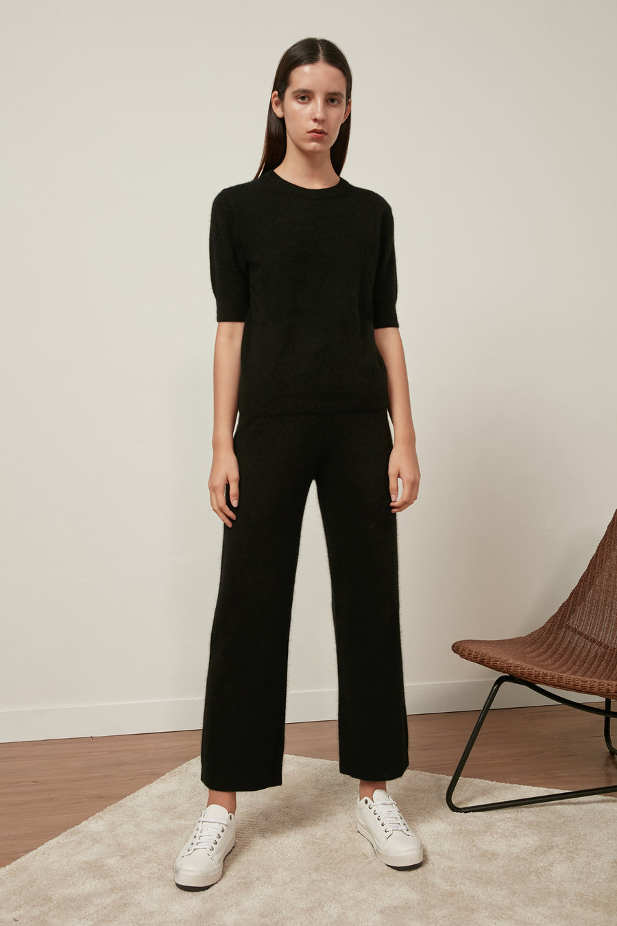 Raccoon fox and wool-blend trousers - Zelle Studio