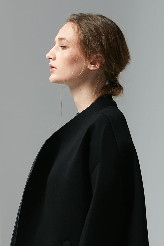 Wren - Oversized Black Coat Lined With Grey