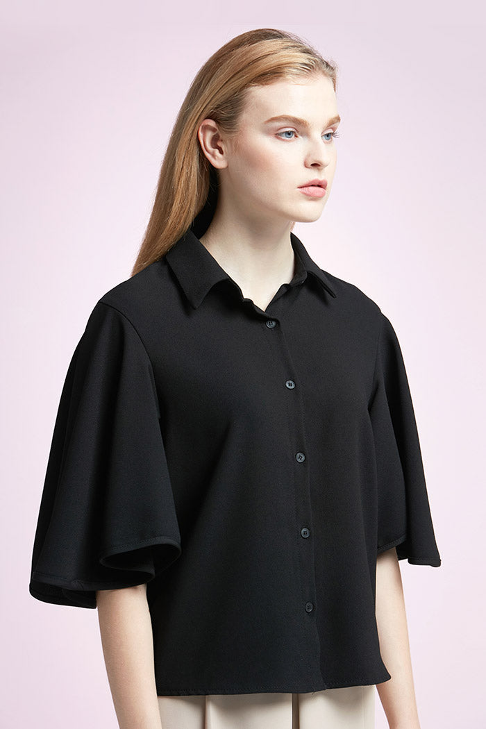 Nicole - Bat Wing Black Button-Down
