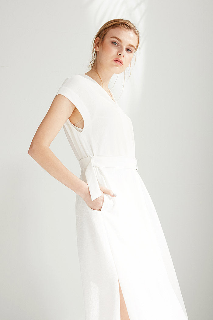 Yi - Belted White A-Line Dress