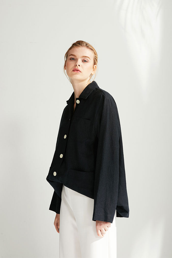 Melly - Navy Hip-Length Coat With White Buttons