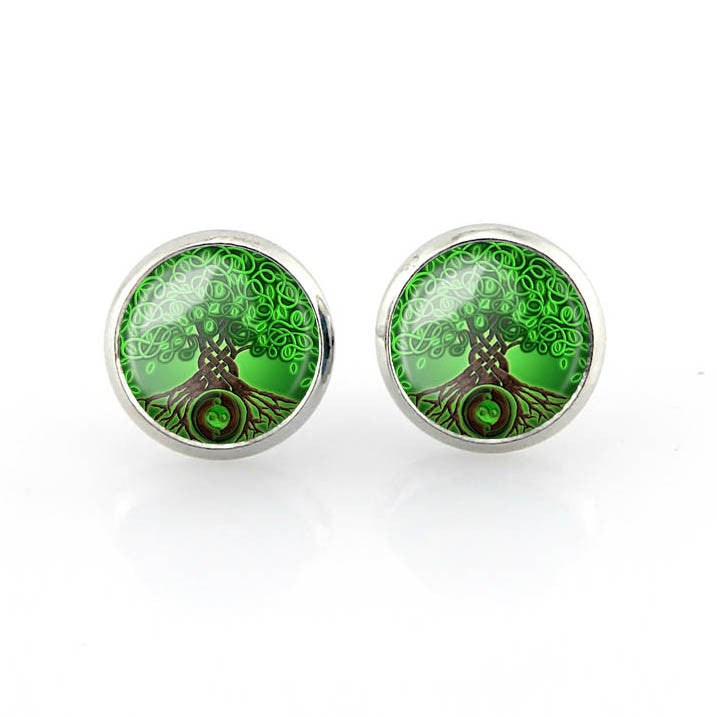 Free shipping,Family Tree,Celtic Tree of Life Stud Earrings Green Wishing Tree jewelry wedding Women Fashion Glass handmade,12 mm