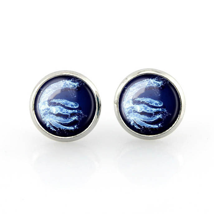 Free shipping,Avatar the Last Airbender Stud Earrings Blue water Friendship gift jewelry handmade,Custom Picture