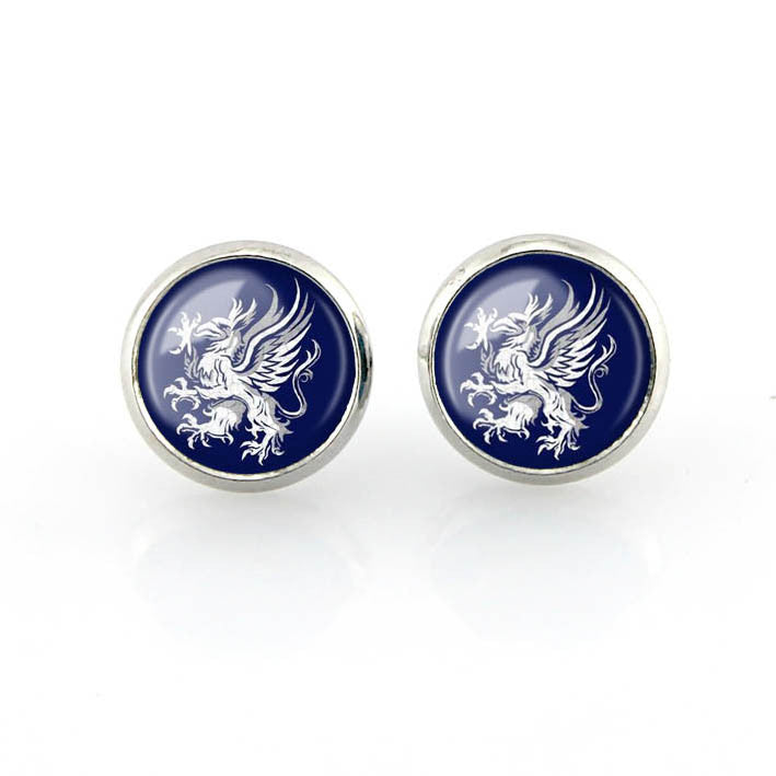 Free shipping,Dragon Age Gray Wardens Stud Earrings Symbol Logo jewelry Crest Women navy Fashion handmade,Custom Picture,12mm diameter