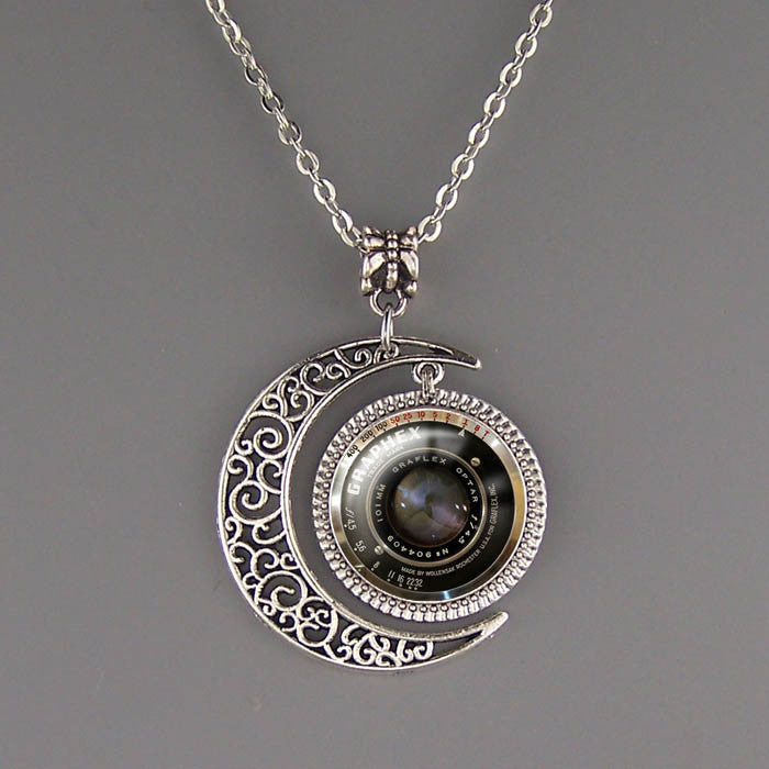 photography jewelry moon free products travel charm silver camera necklace shipping pendant