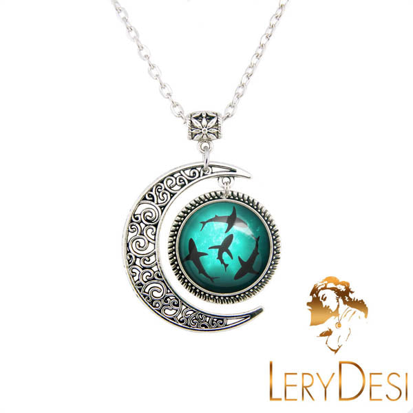 Circling shark necklace ocean fish jewelry moon pendant home products lerydesi free shipping circling sharks necklace shark jewelrysilver moon charmlove ocean fish pendantunisex necklaceman necklacewomen aloadofball Images