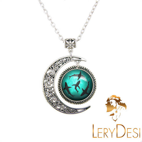 LERYDESI Free shipping Circling Sharks necklace Shark jewelry,Silver Moon charm,LOVE Ocean fish pendant,Unisex necklace,man necklace,women jewelry,Nautical pendant Friendship gift,Handmade,Wholesale or retail