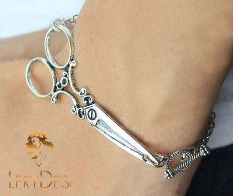 LERYDESI Silver scissor bracelet,OT  button,shears jewelry,Seamstress Bracelet Hairstylist Gift,man Cuff jewelry,Boy bracelet,friendship gift idea,Wholesale or retail.