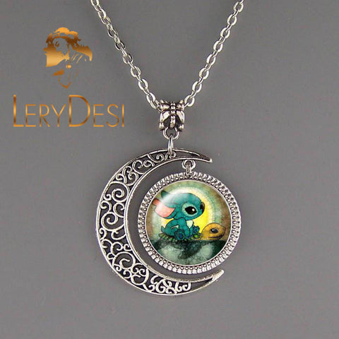 LERYDESI Free shipping,Stitch And Turtle necklace,Handmade,Animal jewelry,Cartoon necklace,Silver Moon charm pendant,Unique Friendship Jewelry,Unisex necklace,Kid gift Children,Wholesale or retail
