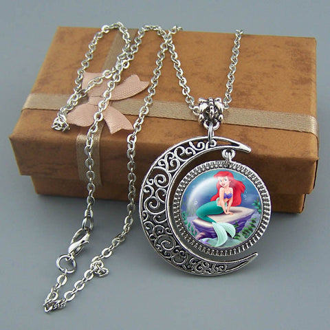 Free shipping,Little Mermaid necklace,,Disney jewelry,Handmade,goddess of the sea jewelry,Girl necklace,Silver Moon charm pendant,Unique Friendship Jewelry,Princess necklace,Kid gift Children,Wholesale or retail