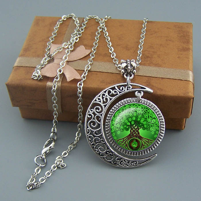 Free shipping,Green tree of life necklace,Family tree jewelry,Silver Moon charm tree pendant,Unique Friendship Jewelry,gift for best friend,family,Unisex necklace,Nautical pendant,Wholesale or retail