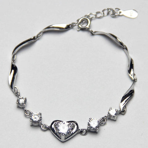Sparkling White crystal bracelet 925 silver bracelet Heart pendant women jewelry Artificial diamond bracelet,Crystal jewelry,Women jewelry Party Bridesmaid Wedding Daily jewelry,Wholesale or retail.