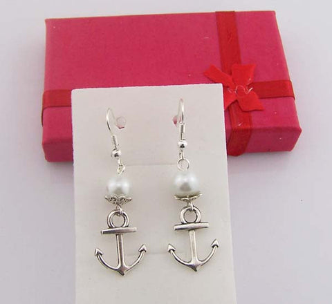 Silver anchor earrings,White Pearls earrings,Small anchor dangle pearl jewerly,women earrings,girl jewelry,wedding jewelry,bridesmaids gift,Wholesale or retail