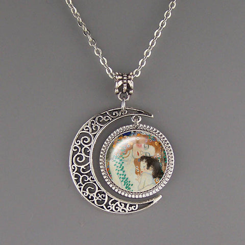 Free shipping,Mother and Baby necklace,Mother's day jewelry,Silver Moon charm,Baby bath pendant,Unisex necklace,birthday present,Child jewelry Gustav Klimt pendants,Handmade custom picture pendant,Wholesale or retail