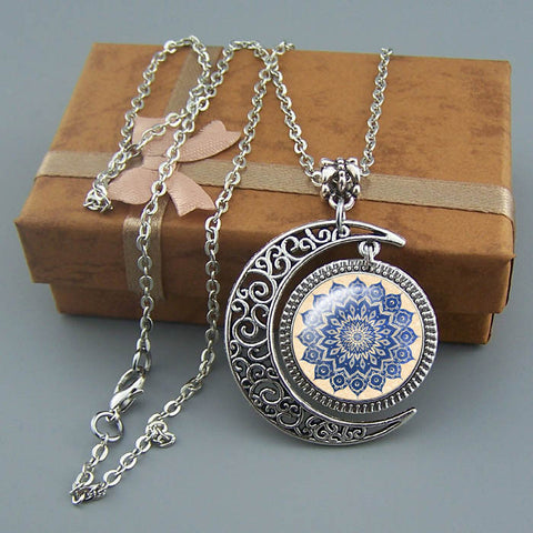 Free shipping,Mandala necklace Blue Floral pendant Moon jewelry,Personalized Handmade custom picture pendant,Wholesale or retail