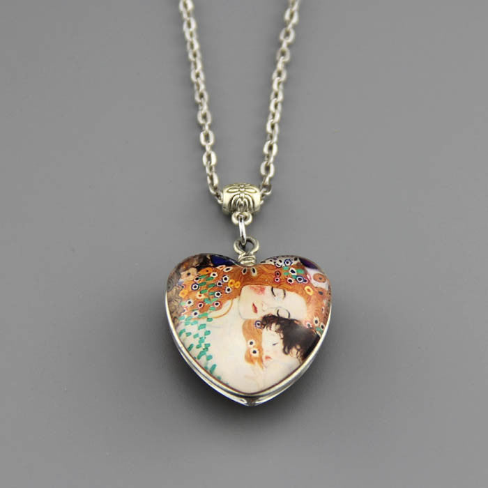 Free shipping,Double sided Mother and Baby pendant,Mother's day jewelry,Double-sided glass mother baby necklace,silver chain,Pure handmade,Friendship gift for Child jewelry Gustav Klimt pendants,Unisex custom picture necklace,Wholesale or retail