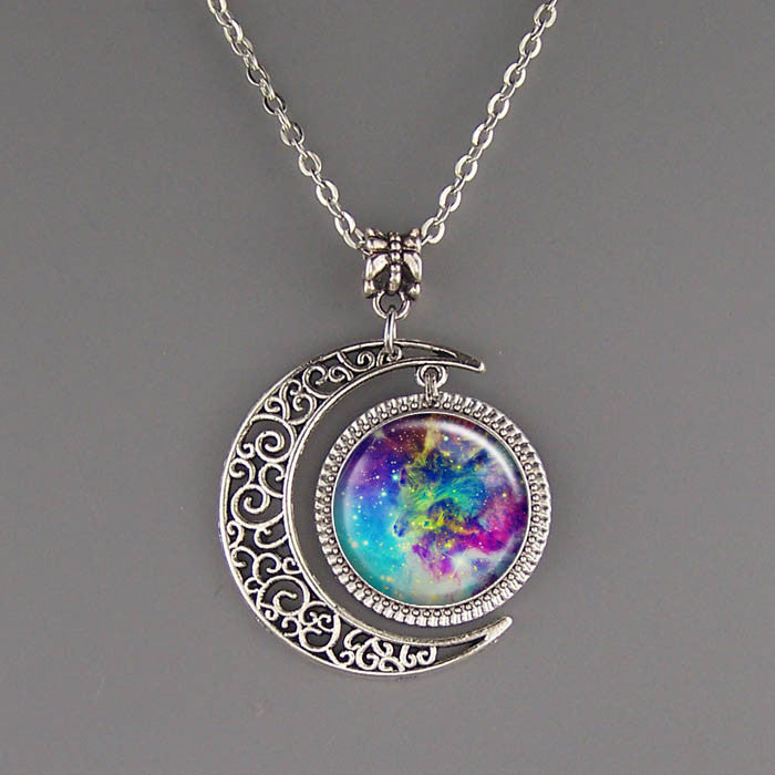 Free shipping,Nebula Necklace Silver Moon Charm Jewelry Nebula Pendant Galaxy Resin Pendant Hubble Space,Wholesale or retail