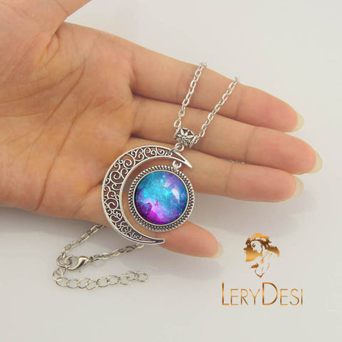 LERYDESI Free shipping,Turquoise Nebula Necklace,Nebula jewelry,Moon pendant,Blue Galaxy Necklace,Space Pendant,Galaxy Jewelry,Universe Pendant,custom picture pendant.