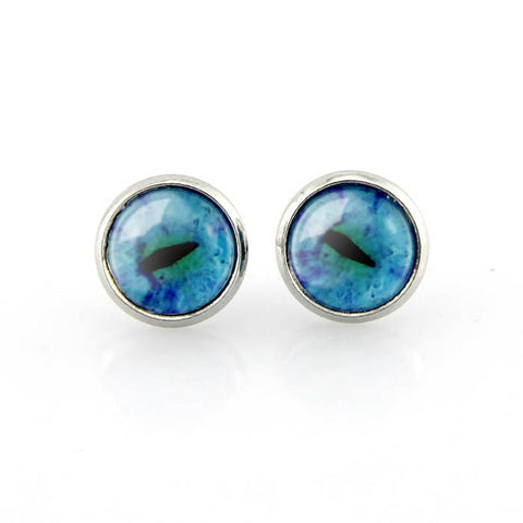Free shipping,Turquoise Eyeball Cat Eye Stud Earrings,blue and black eye jewelry,animal eye pendant,Custom Picture Jewelry Gifts for Women,girl,kid.