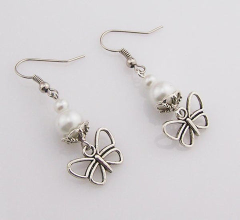 Silver butterfly earrings,White Pearls earrings,Small butterfly dangle pearl jewerly,women earrings,girl jewelry,wedding jewelry,bridesmaids gift,Wholesale or retail