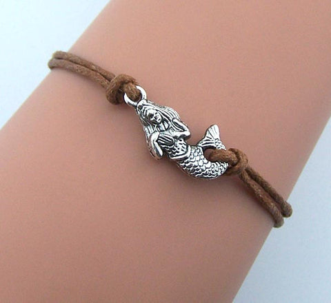 Mermaid Bracelet,Silver little mermaid jewelry,brown rope bracelet,women bracelet,friendship gift idea,wedding jewelry,bridesmaids gift,Wholesale or retail.