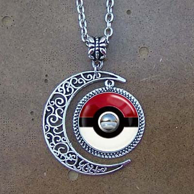 Free shipping,Pokeball Necklace,Pokeball jewelry,Pokeball pendant,Pokemon necklace,Pokemon jewelry,Pokemon pendant,red and white,custom picture pendant.