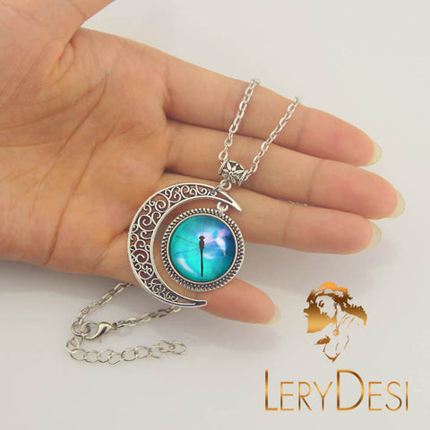 LERYDESI Free shipping,Dragonfly necklace,Dragonfly jewelry,Mint necklace,Dragonfly pendant Silver Moon charm,Unique Friendship Jewelry,gift for best friend,Unisex  man necklace,women jewelry,Nautical pendant Friendship Blessing gift,Wholesale or retail