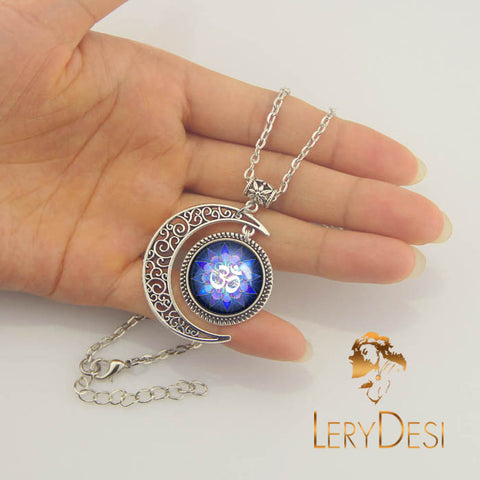 LERYDESI Free shipping,Om Necklace,Yoga Jewelry Moon charm pendant,3D necklace,Purple Lotus Flower necklaces Pendant Buddhism Zen Art,dark blue,Art pendant,Men and women all appropriate