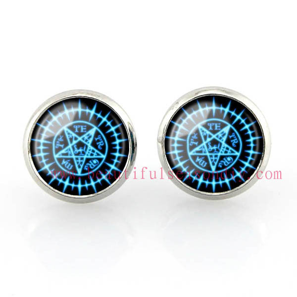 Free shipping,Black Butler Stud Earrings Sebastian Seal Earrings Michaelis jewelry Women fashion Glass,12 mm Women fashion girl Jewelry Glass handmade,Custom Picture