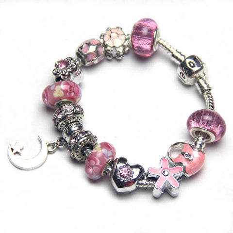 Free ship,Fashion shiny pink charm bracelet,Star Moon pendant women jewelry,turtle,heart,flower,crown,bag,LOVE snake bone chain,custom,Wholesale or retail
