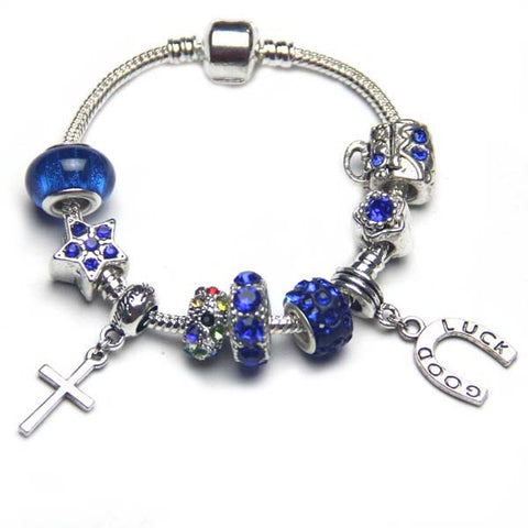 Free ship,Shiny Royal Blue Beads Sapphire European Bracelet Silver Charms Good luck Horseshoe,Cross pendant Handbag,flower,star,fashion women jewelry Snake bone chain,Wholesale or retail