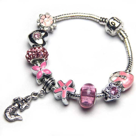 Free ship,Shiny Children Pink Beads European Charm Bracelet,Mermaid Pendant Girl Jewelry,clover,flowers,tortoise,Heart,handbags,Love snake bone chain,Sister,daughter,customizable,Handmade,Wholesale or retail