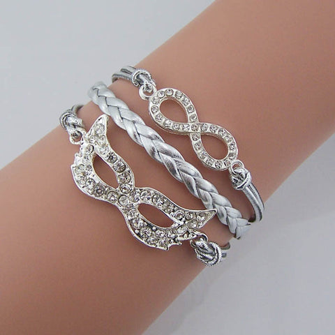 Artificial diamond Mask bracelet,Crystal infinity jewelry,Bohemia style Silver leather rope, Women jewelry Party Bridesmaid Wedding Masquerade Masked ball Daily jewelry,Wholesale or retail.