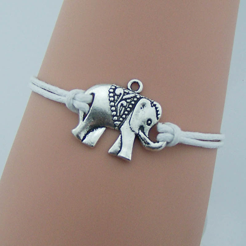 Elephant bracelet Simple Elephant jewelry,Animals jewelry,Silver/bronze Charm,men jewelry women cuff,white string,friendship gift idea,Wholesale or retail