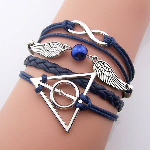 Silver Bronze Harry Potter Bracelet Steampunk jewelry,Navy leather navy rope,Dark blue pearl Snitch Wings Bracelet Infinity bracelet deathly hallows vintage style jewelry gift idea,handmade,Wholesale or retail