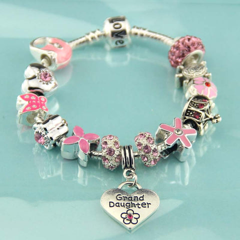 Children's pink charm bracelet,Granddaughter jewelry,Love,silver,Crystal,Artificial diamond,Flower girl jewelry Party,Wholesale or retail.