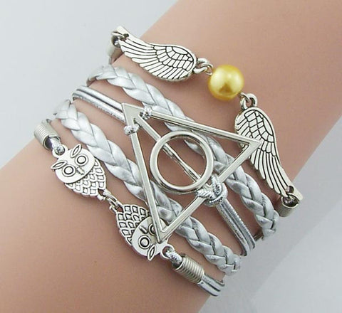 Silver Bronze Harry Potter Bracelet Steampunk,Silver leather silver rope,Golden Snitch Wings with pearl Bracelet owls bracelet deathly hallows vintage style jewelry gift idea,handmade,Wholesale or retail