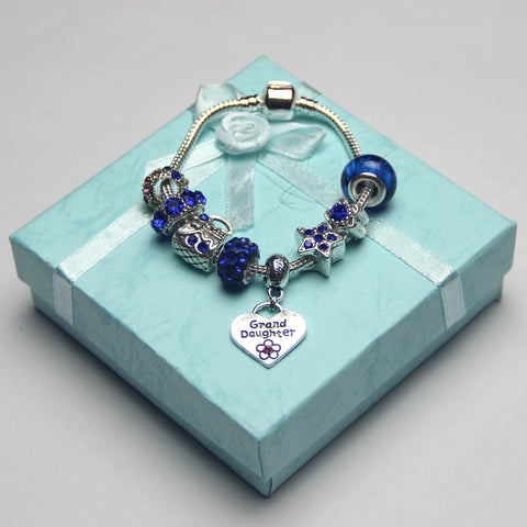 Children's Dark blue charm bracelet,Granddaughter jewelry,Love,silver,Crystal,Artificial diamond,Flower girl jewelry Party,custom,Wholesale or retail.