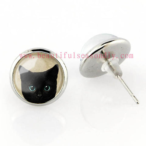 Free shipping,Lovely black cat Stud Earrings cat Pendant Women fashion girl Jewelry Glass handmade,animal pendant,Custom Picture Jewelry Gifts for Women,girl,kid.