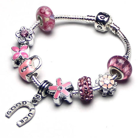 Free ship,Fashion glitter Pink charm bracelet,Silver Horseshoe pendant good luck women jewelry,Love,Clover,Flower,bag,tortoise,custom,Wholesale or retail